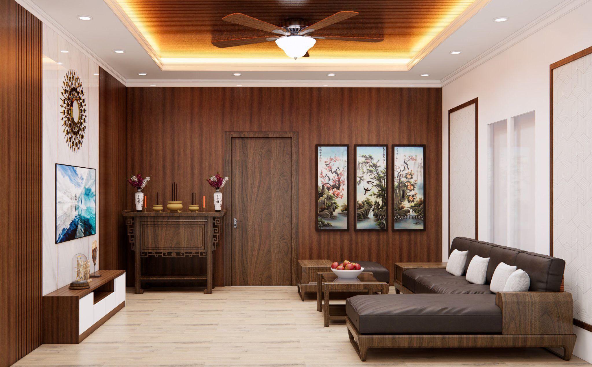 Không gian phòng ngủ với tấm ốp vân gỗ