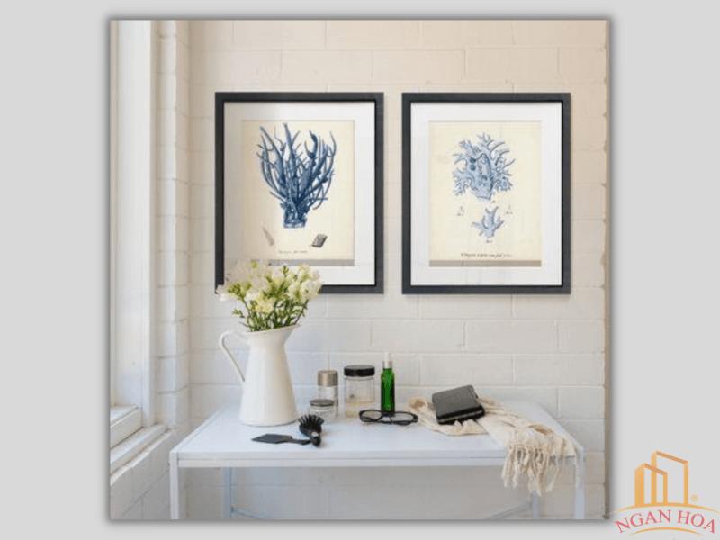Không gian quán cà phê sử dụng khung tranh đẹp