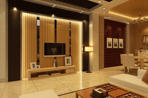 Sử dụng tấm lam gỗ ốp tường trong phòng khách