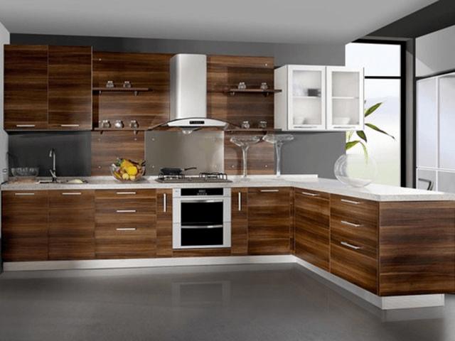 Không gian nhà bếp sử dụng tấm ốp composite