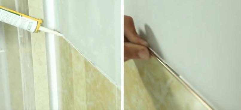 Sử dụng keo chuyên dụng dán tấm ốp vào tường